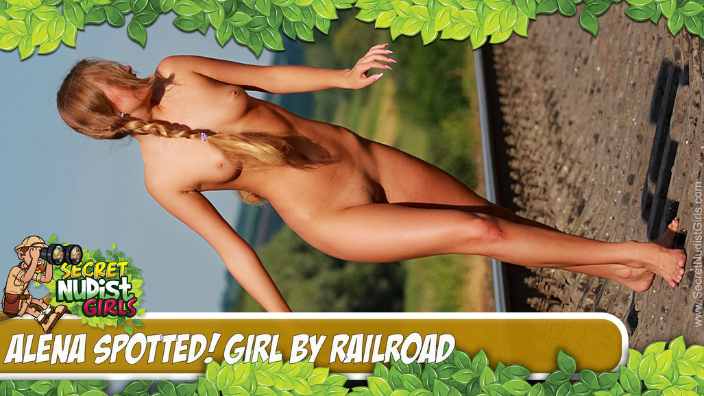 Alena in Spotted! Girl by railroad